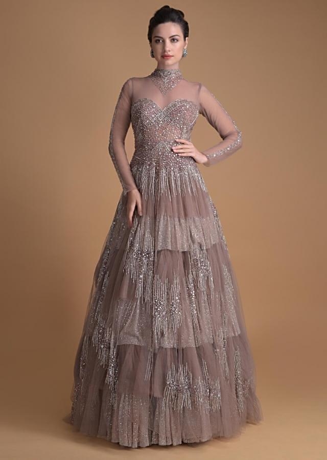 Eve Champagne Gown In Hand Embellished Net With Geometric Motifs And Choker Pattern Online - Kalki Fashion