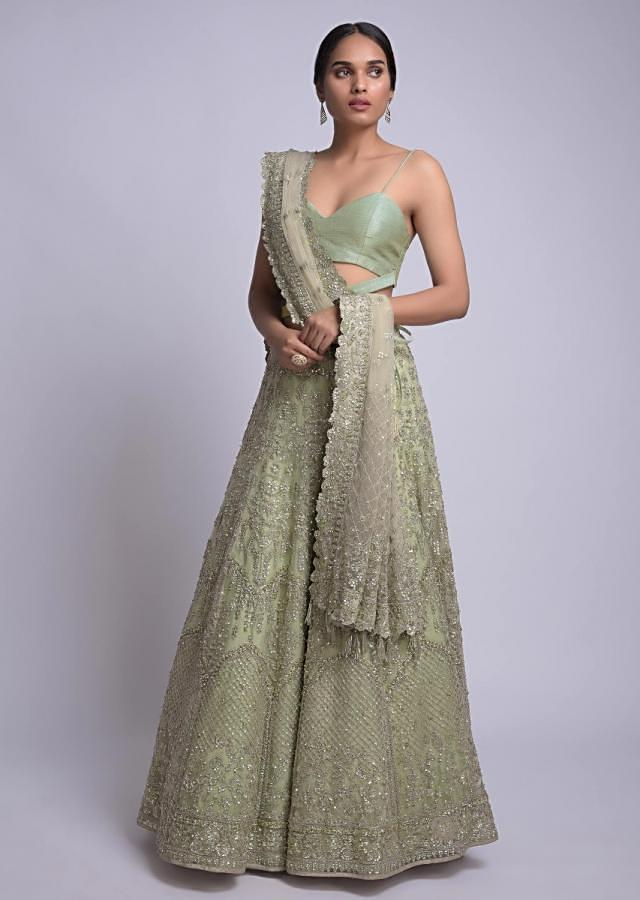 Dusty Green Lehenga With Floral And Moroccan Embroidery Online - Kalki Fashion