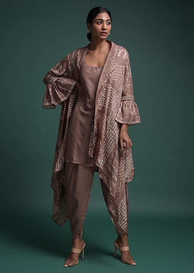 Dusty Mauve Dhoti Suit In Silk Blend With Matching Tribal Printed Jacket Online - Kalki Fashion