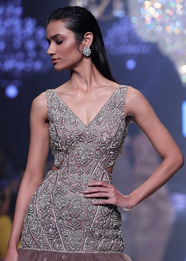 Eve Champagne Mermaid Cut Gown In Hand Crafted Net With Geometric Motifs Online - Kalki Fashion