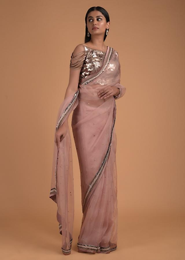 Dusty Peach Saree In Organza And Gold Blouse With Sequins Work Online - Kalki Fashion
