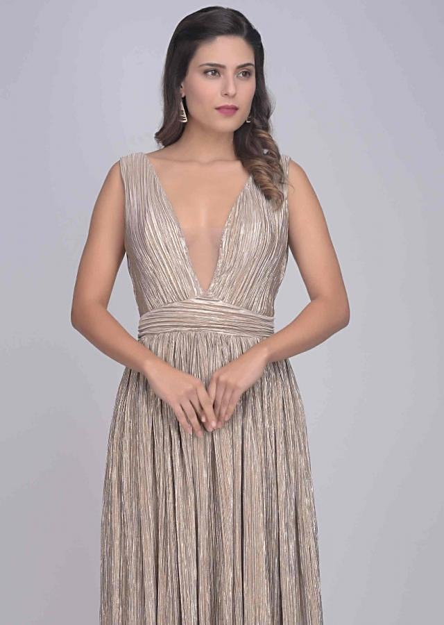 Dusty Pink And Gold Gown In Crushed Lycra Online - Kalki Fashion