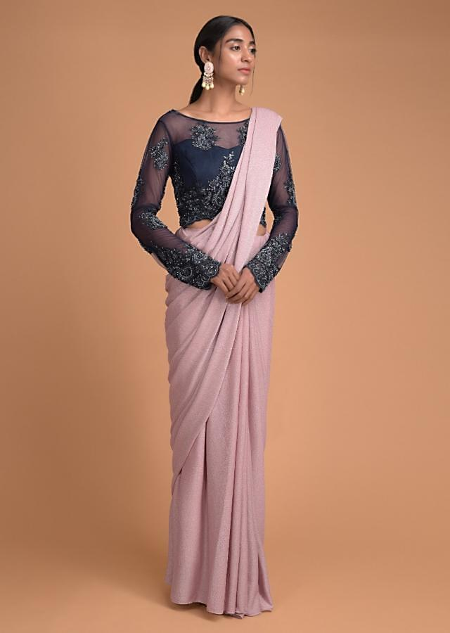 Dusty Pink Saree In Shimmer Lycra And Contrasting Blue Embellished Blouse Online - Kalki Fashion