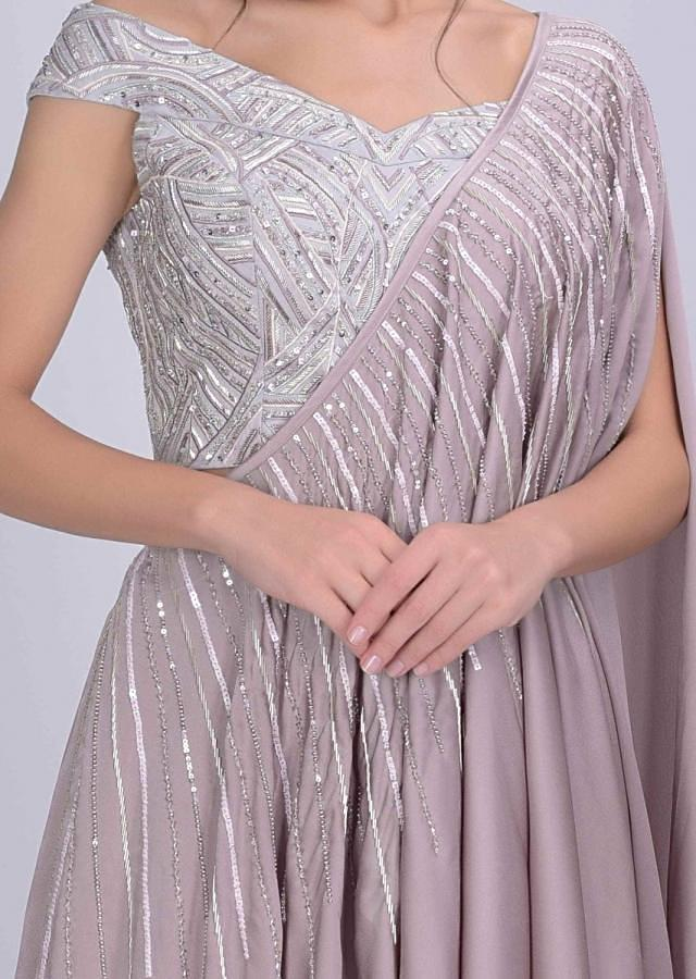 Dusty Pink Skirt In Satin With Embellished Cloud Grey Crop Top And Prestitched Dupatta Online - Kalki Fashion
