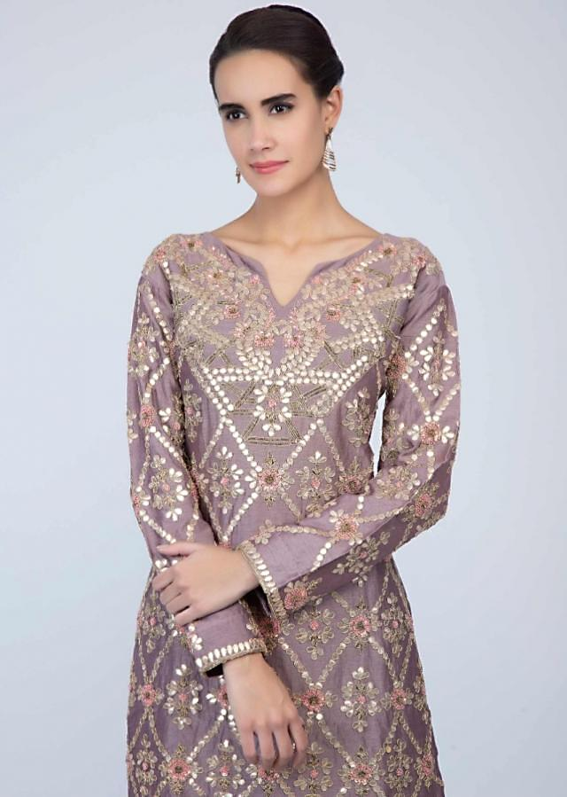 Dusty pink sharara suit set with gotta patch jaal embroidery only on Kalki