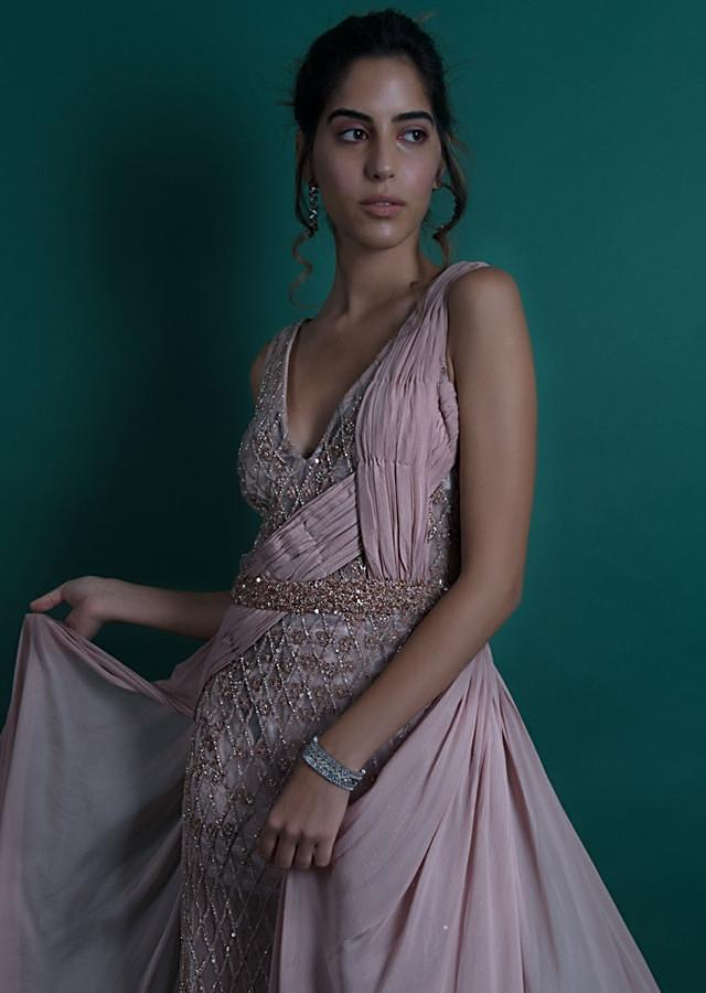 Dusty pink sheer net gown with velvet under layer only on Kalki
