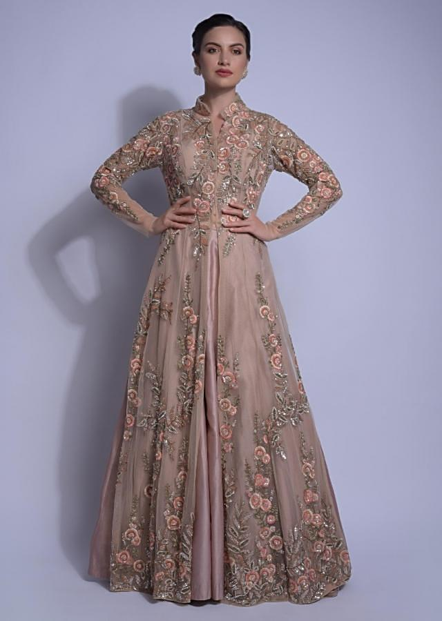 Dusty Pink Skirt And Crop Top With Floral Embellished Net Jacket Online - Kalki Fashion