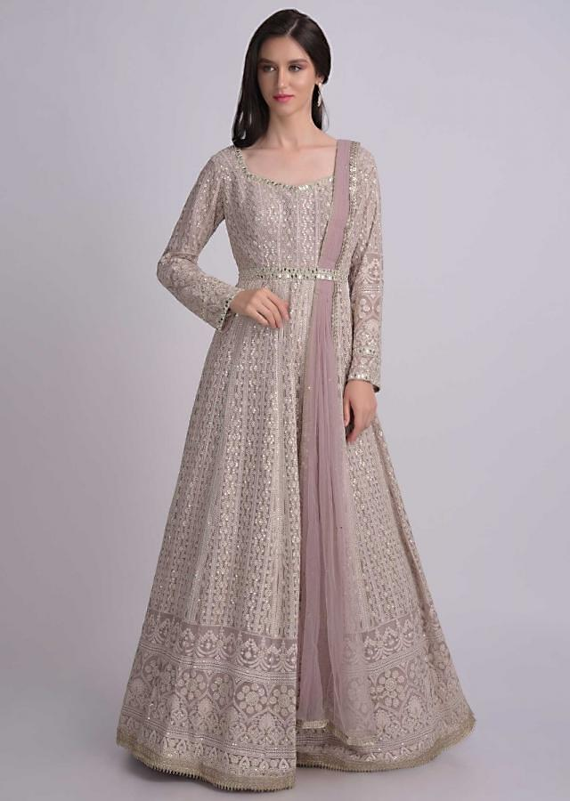 Dusty Rose Pink Anarkali Suit In Chiffon With Thread Embroidery Work Online - Kalki Fashion