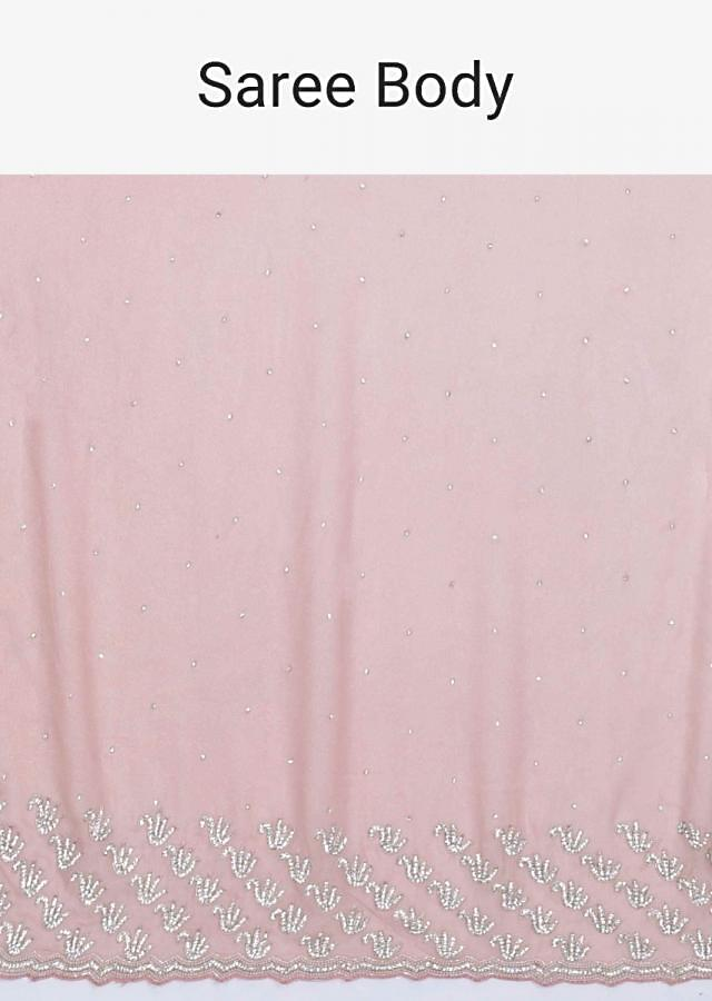 Dusty Rose Pink Saree In Shimmer Chiffon With Silk Blouse Piece Online - Kalki Fashion