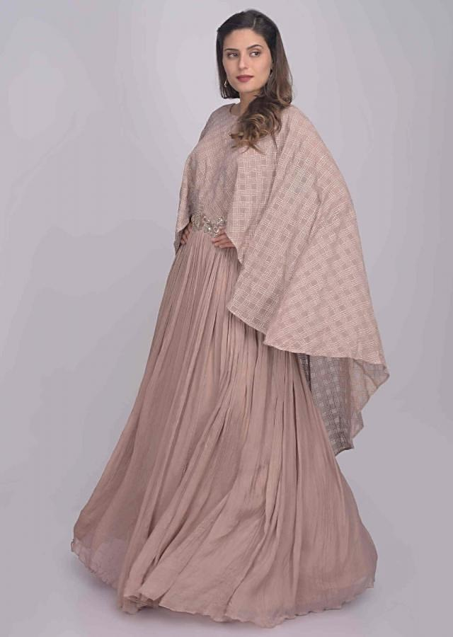 Dusty Rose Pink Gown In Satin And Chiffon With Attached Cape Online - Kalki Fashion