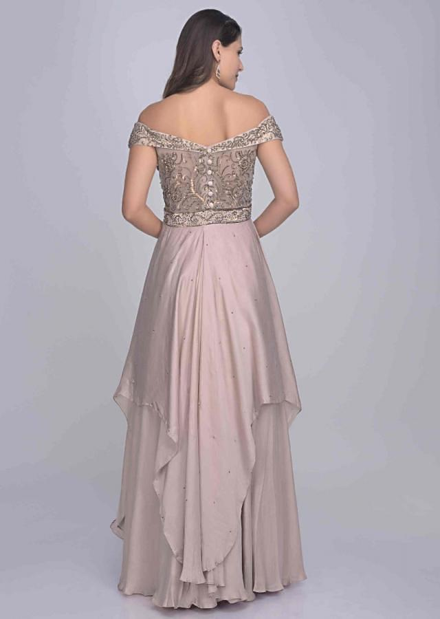 Dusty Rose Pink Gown In Satin Silk With Raw Silk Embroidered Bodice Online - Kalki Fashion