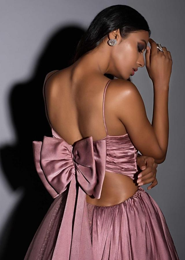 Dusty Rose Pink Gown In Satin Crepe And Net With Elaborate Bow On The Back Online - Kalki Fashion