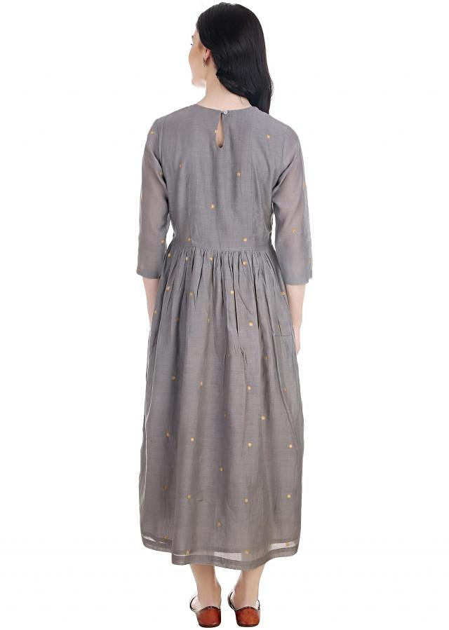 effortless grey gathered dress