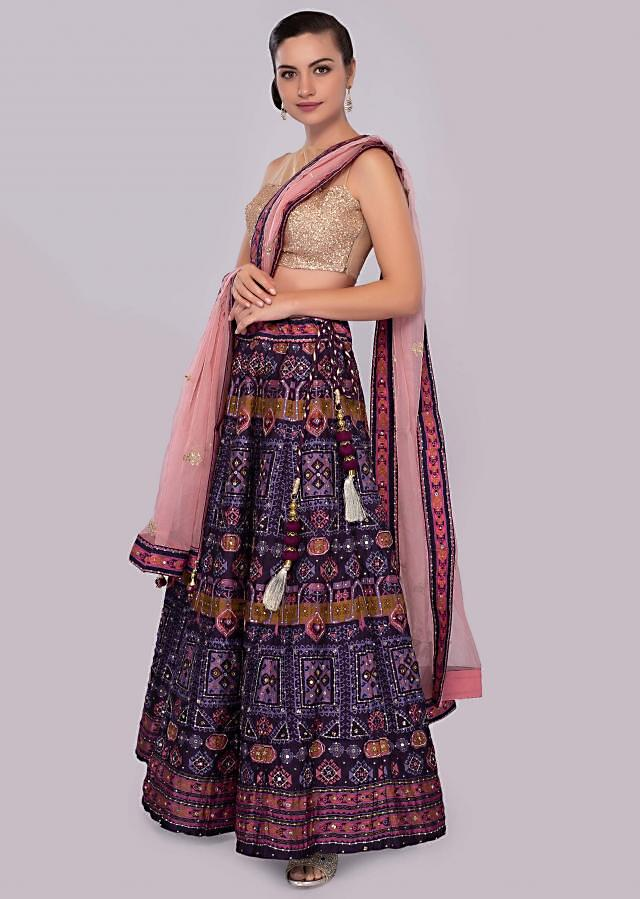 Egg plant cotton lehenga with foil print butti and rose pink organza dupatta only on Kalki