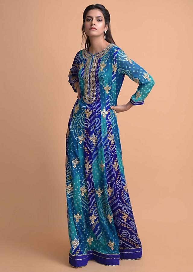 Egyptian Blue And Sapphire Blue Anarkali Suit In Chiffon With Bandhani Print And Gotta Work Online - Kalki Fashion