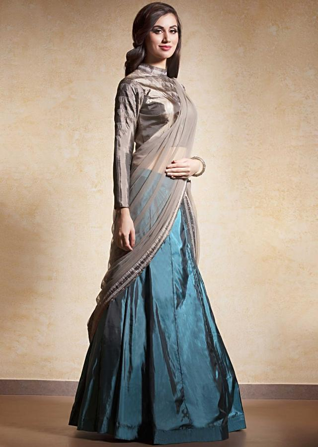 Electric blue lehenga in silk with ready blouse and attach dupatta only on Kalki