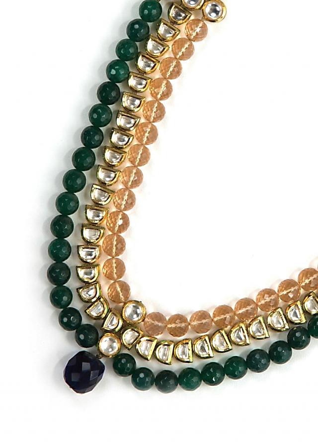 Elegant green and peach kundan necklace only on Kalki