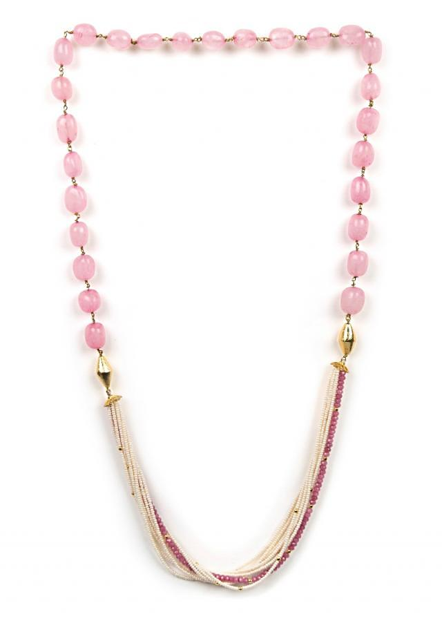 Elegant pink and white beaded necklace only on Kalki