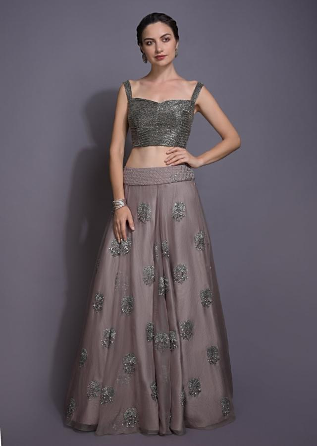Elephant Grey Lehenga And Crop Top With Embroidery Work And Ruffle Dupatta Online - Kalki Fashion