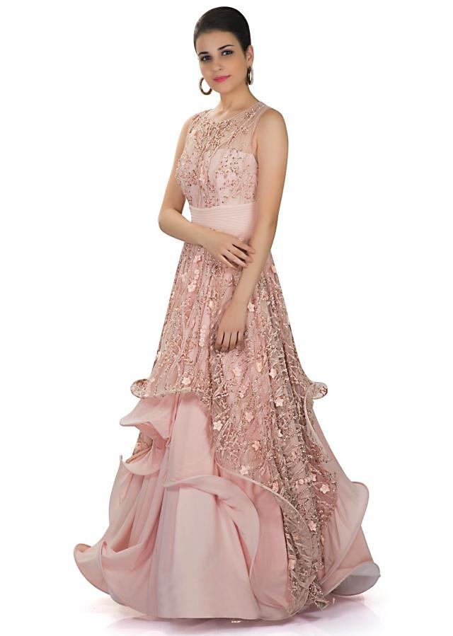 Embellished Blush Pink Gown in Fancy Fabric with Taffeta Lining and Boning only on Kalki