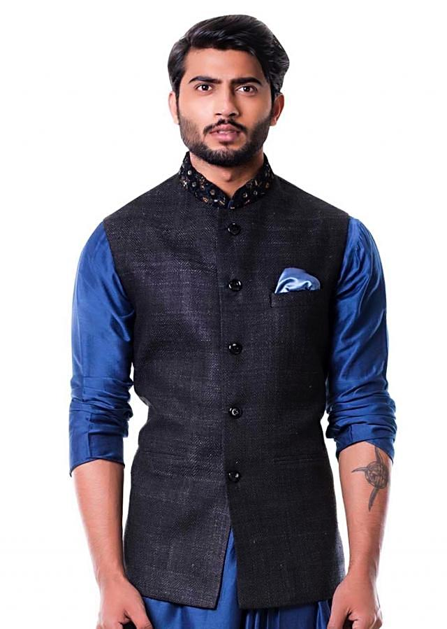 Embroidered Black Waist Coat