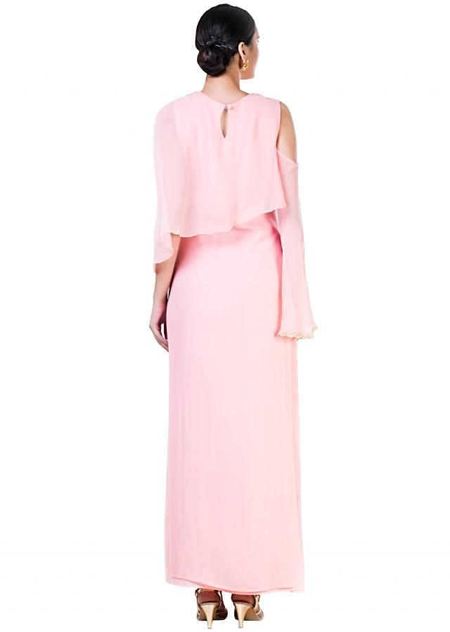 Embroidered Blush Pink Cold  Shoulder Cape Style Gown