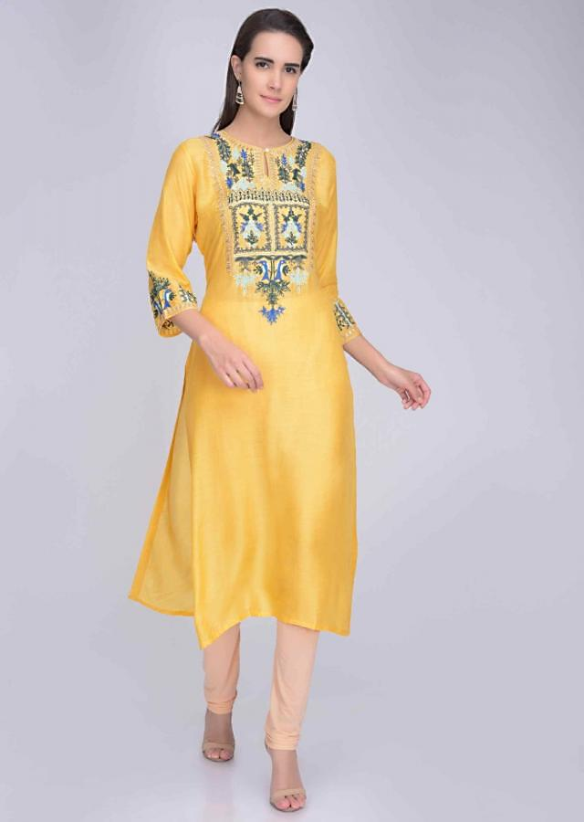 Chrome Yellow Kurti In Crepe With Embroidery Work Online - Kalki Fashion