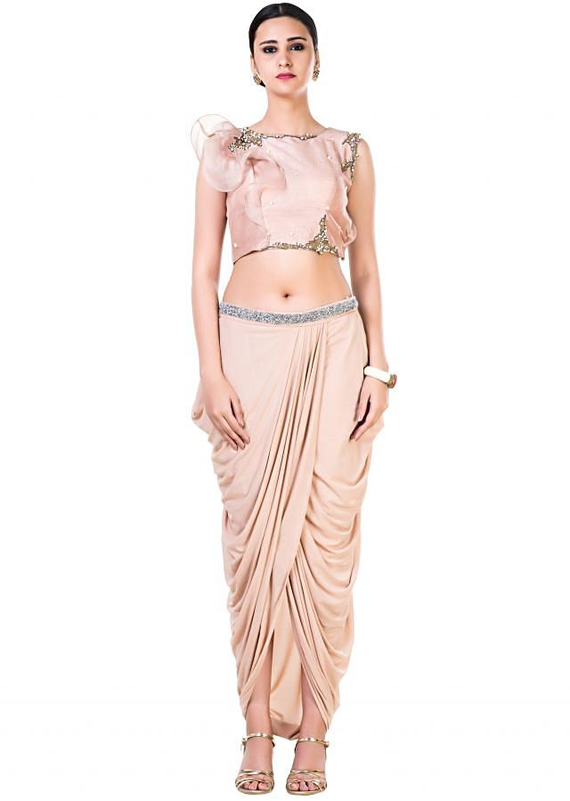 Embroidered Light Brown Frill Crop Top and Draped Skirt Set