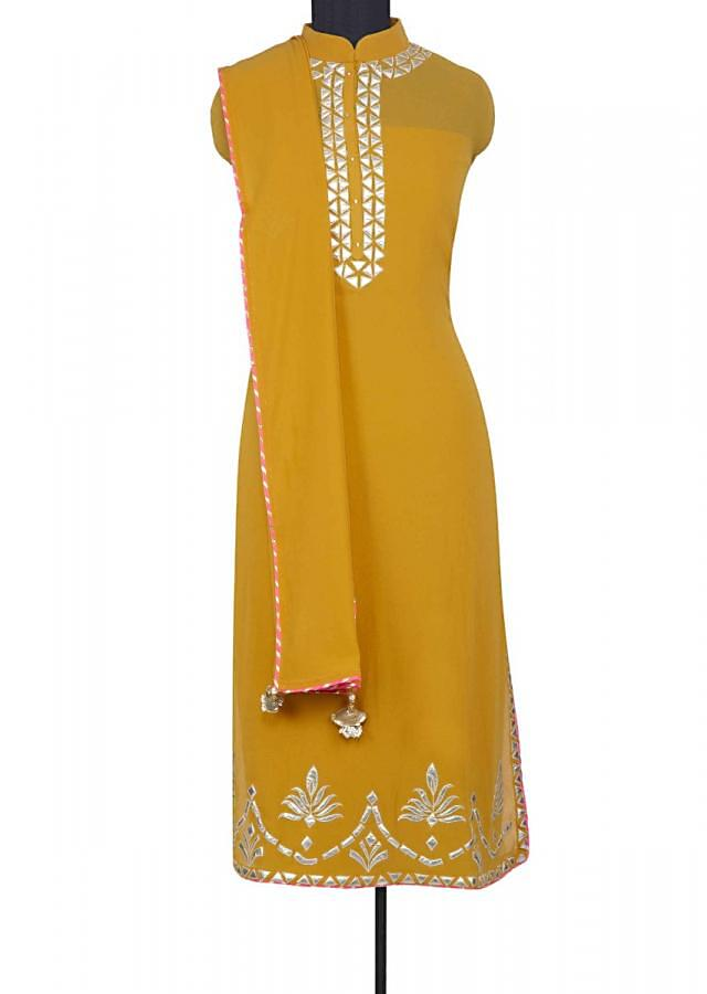 Mustard Semi Stitched Suit Set With Embroidery Work And Matching Dupatta Online - Kalki Fashion