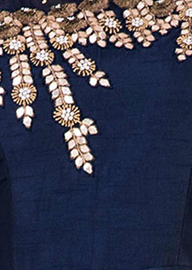 Embroidered Navy Blue  One Side Full Sleeves Gown