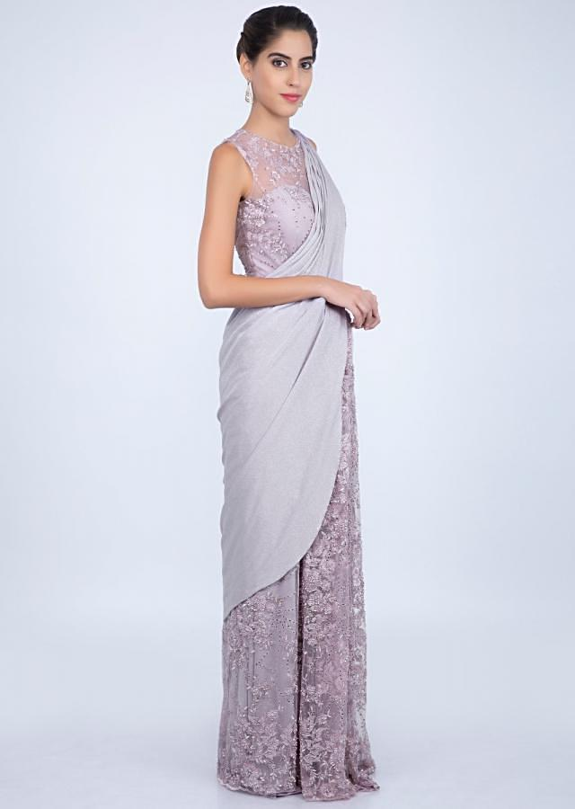 Lilac Saree Gown In Embroidered Net With Shimmer Lycra Draped Pallu Online - Kalki Fashion