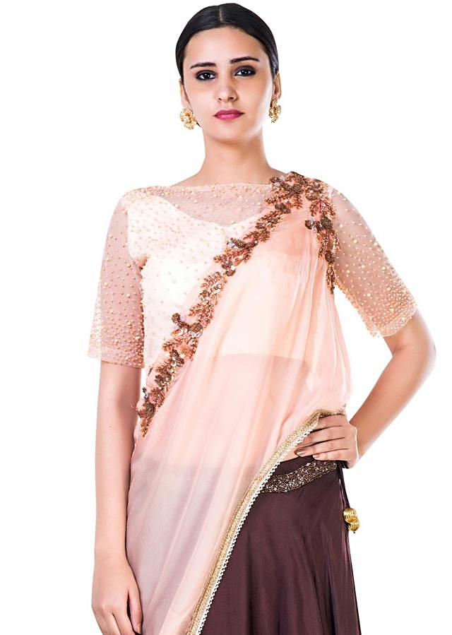 Embroidered  Powder Peach and Brown Lehenga Set With an Attached Dupatta