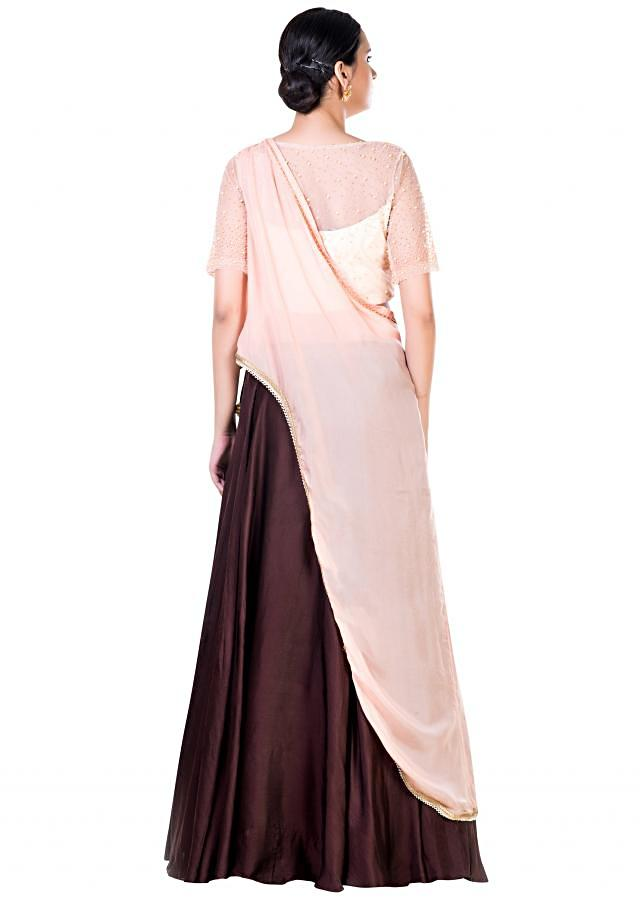 Powder Peach And Brown Lehenga Set With Embroidery Work And An Attached Dupatta Online - Kalki Fashion