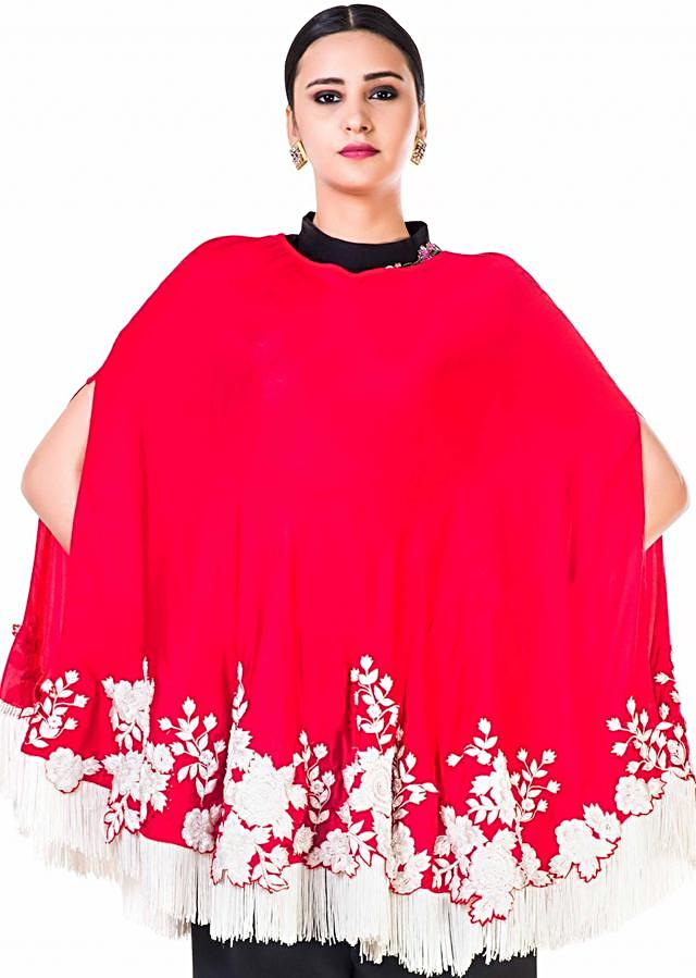 Embroidered Red Tasseled Cape