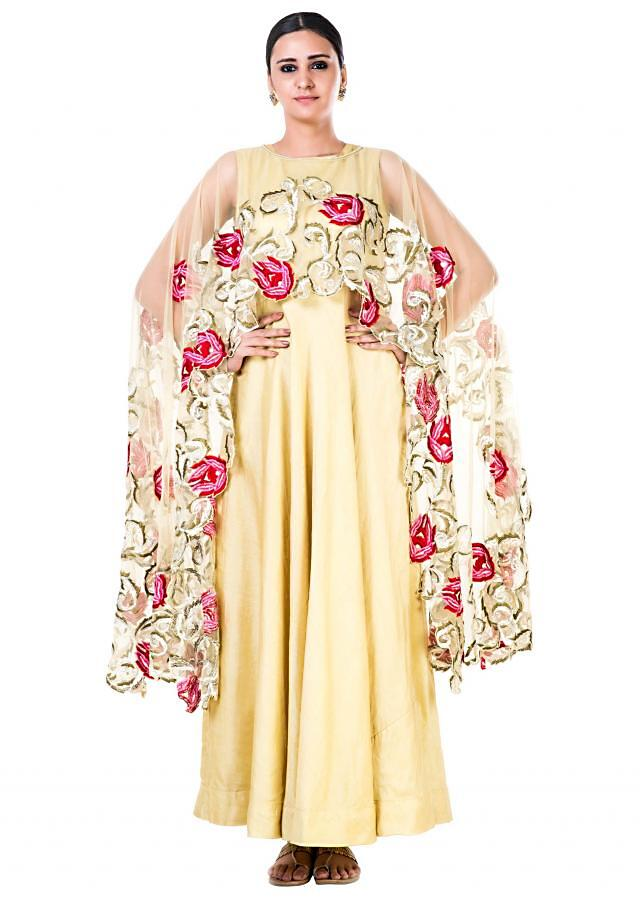 Embroidered Yellow Gown With a Floral work Cape