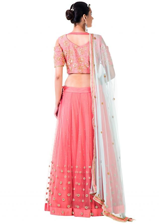 Embroidered Peach Net Lehenga Set with Blue Dupatta