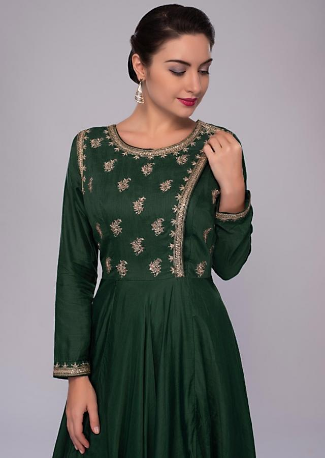 Emerald green anarkali suit with angrakha style embroidered bodice only on Kalki