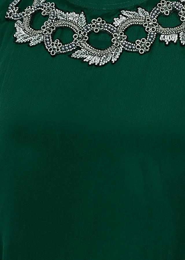 Emerald Green Asymmetric Tunic Dress In Santoon With Applique Work Online - Kalki Fashion