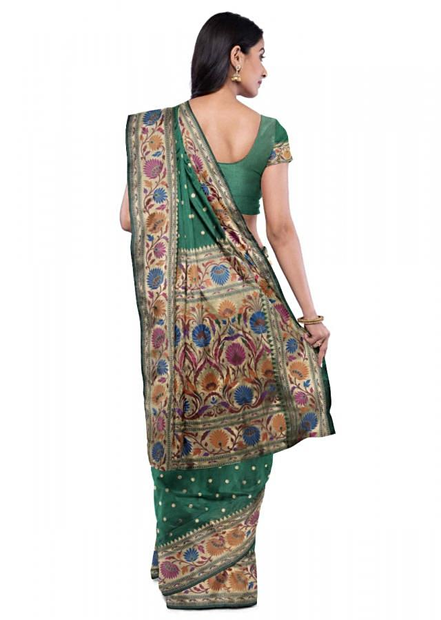 Emerald Green Banarasi Saree With Matching Blouse Piece Online - Kalki Fashion
