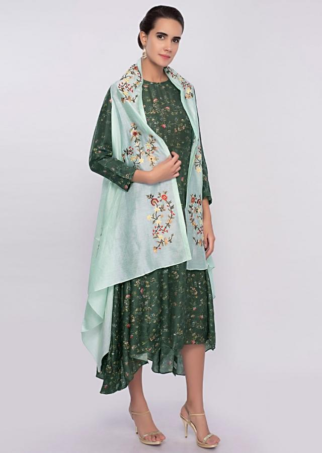 Emerald green cotton silk asymmetric kurti with mint green embroidered jacket only on Kalki