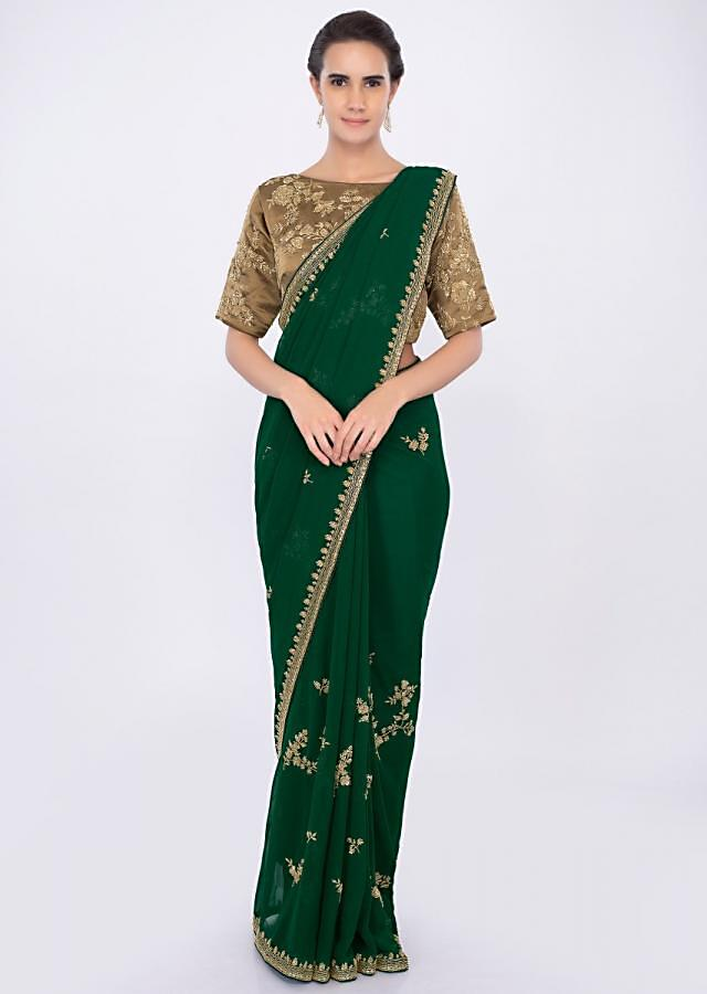 Emerald Green Saree In Georgette With Embroidery And Butti Online - Kalki Fashion