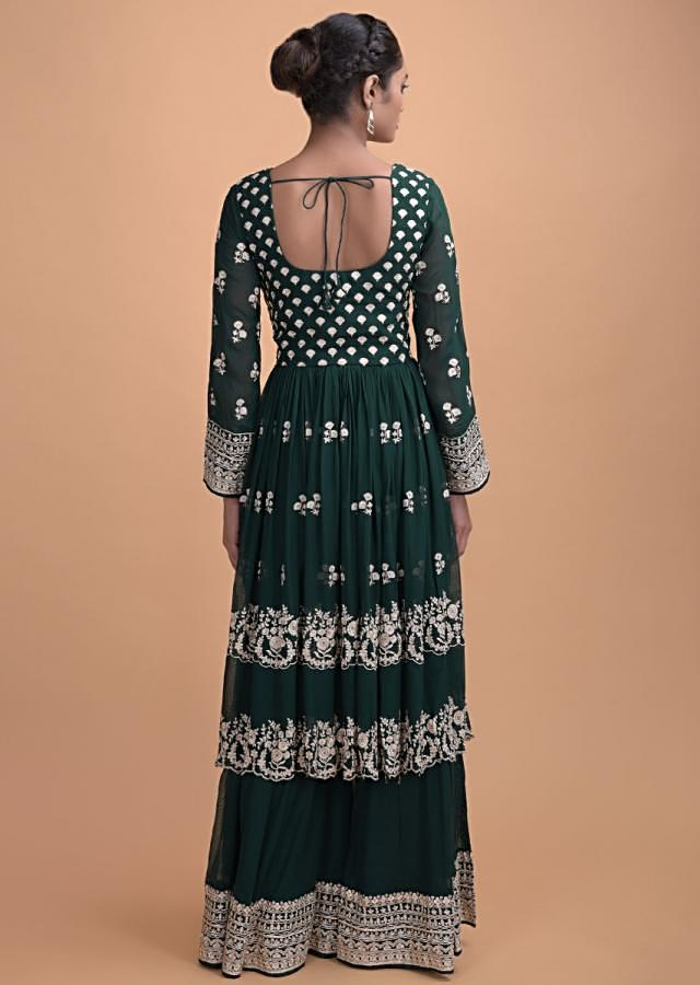 Emerald Green Palazzo Suit In Georgette With Thread And Kundan Work In Floral Buttis Online - Kalki Fashion