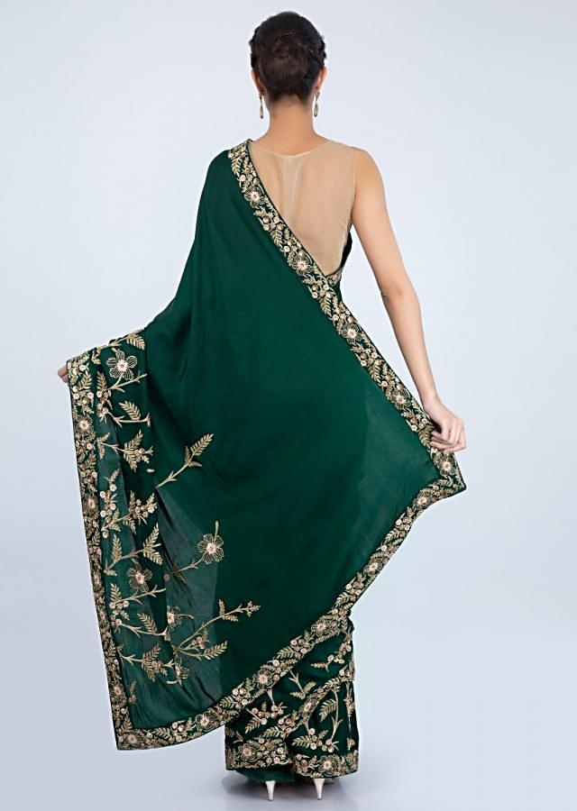 Emerald Green Blouse In Satin With In Heavy Floral Embroidery Online - Kalki Fashion