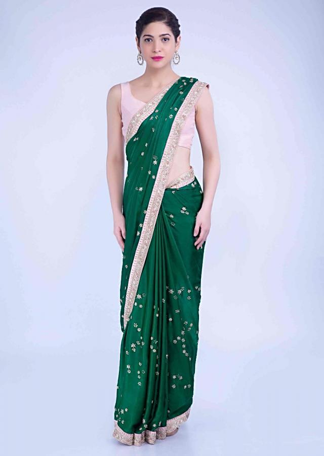 Emerald Green Saree In Satin Georgette With Blush Pink Raw Silk Blouse Piece Online - Kalki Fashion
