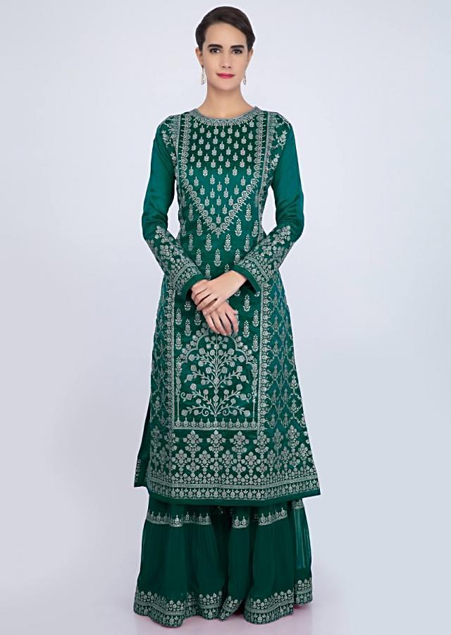 Emerald Green Sharara Suit Set With Embroidery And Butti Online - Kalki Fashion