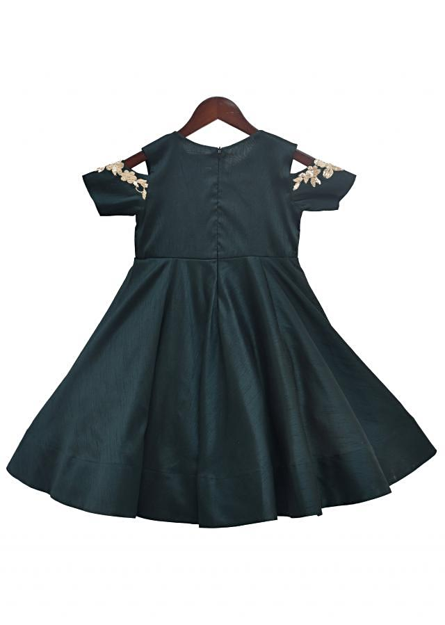 Emerald Green Silk Anarkali by Fayon Kids
