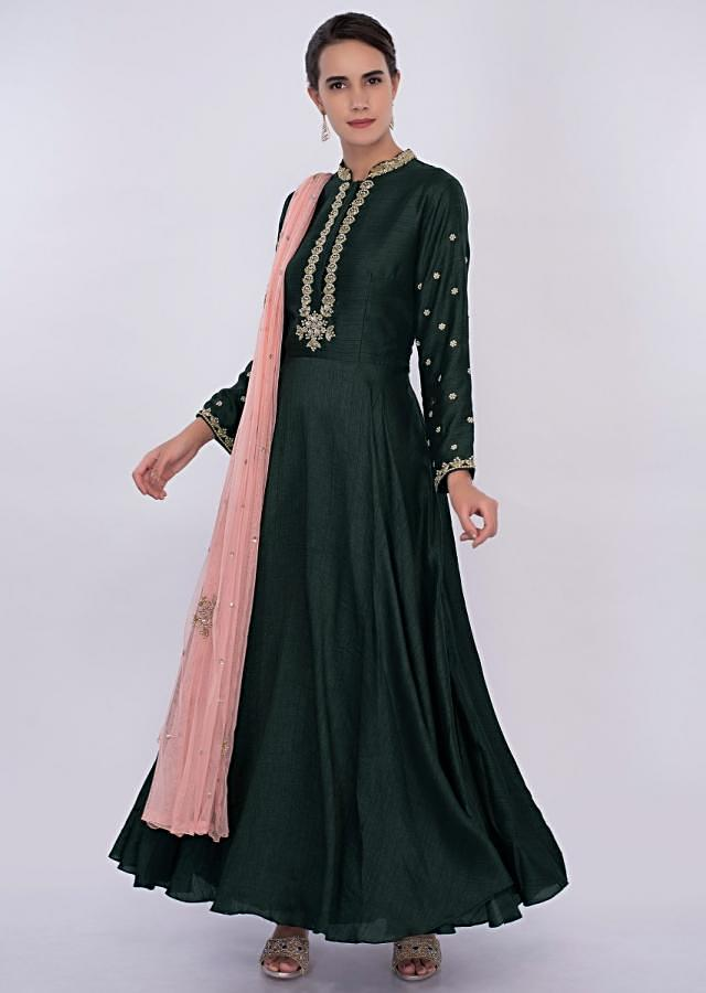 Emerald green silk anarkali dress with peach net dupatta only on Kalki