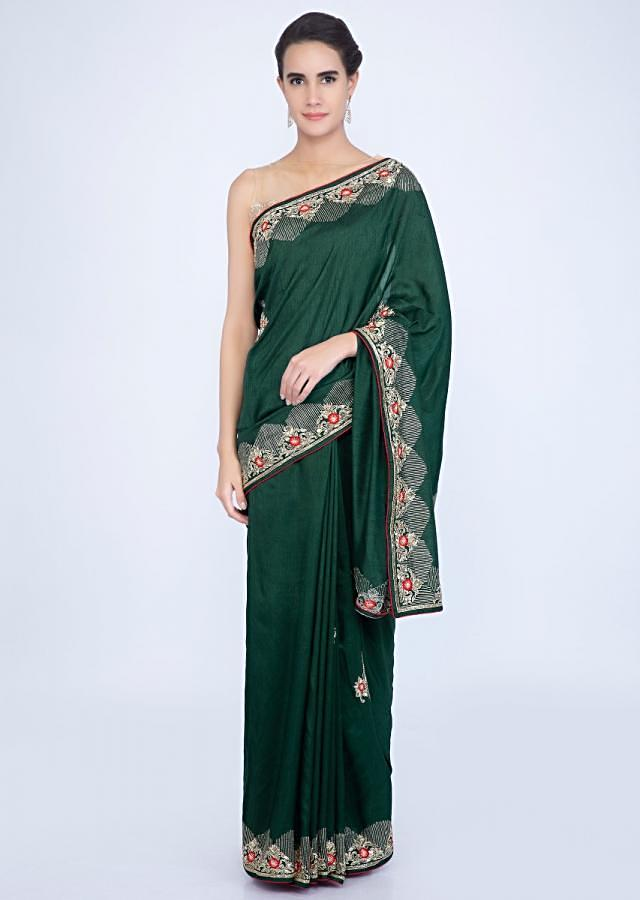 Emerald Green Saree In Silk With Embroidered Butti And Border Online - Kalki Fashion