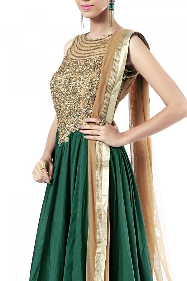 Emerald green anarkali embellished in zardosi and thread embroidery only on Kalki