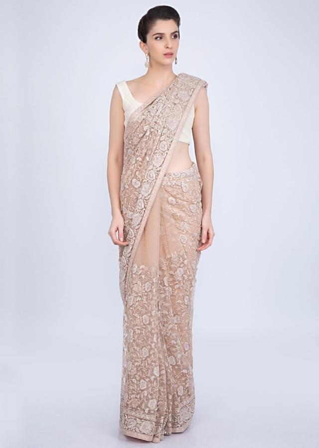English peach hard net saree in floral jaal embroidery only on kalki